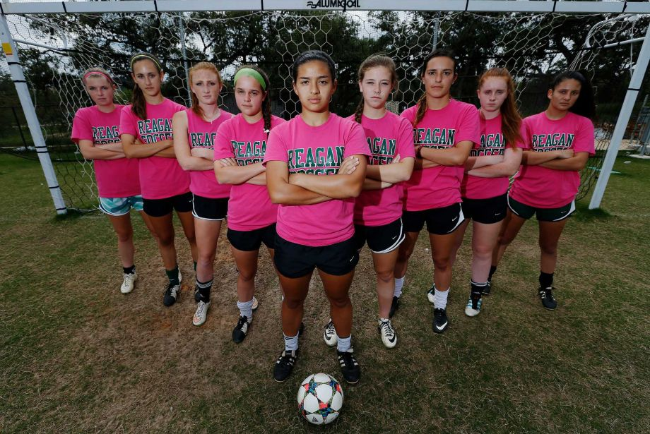 Reagan soccer reserves Megan Sherman (from left), Izabella Santos, Devyn Hagan, Alyson Lippincott, Sara Gates, Julia Thiel, Kayla McConnell, Hanna Harrington and Kendell Moody are part of the formidable group of players that have helped Reagan reach the state soccer tournament. Reagan will face off against Coppell on Friday.