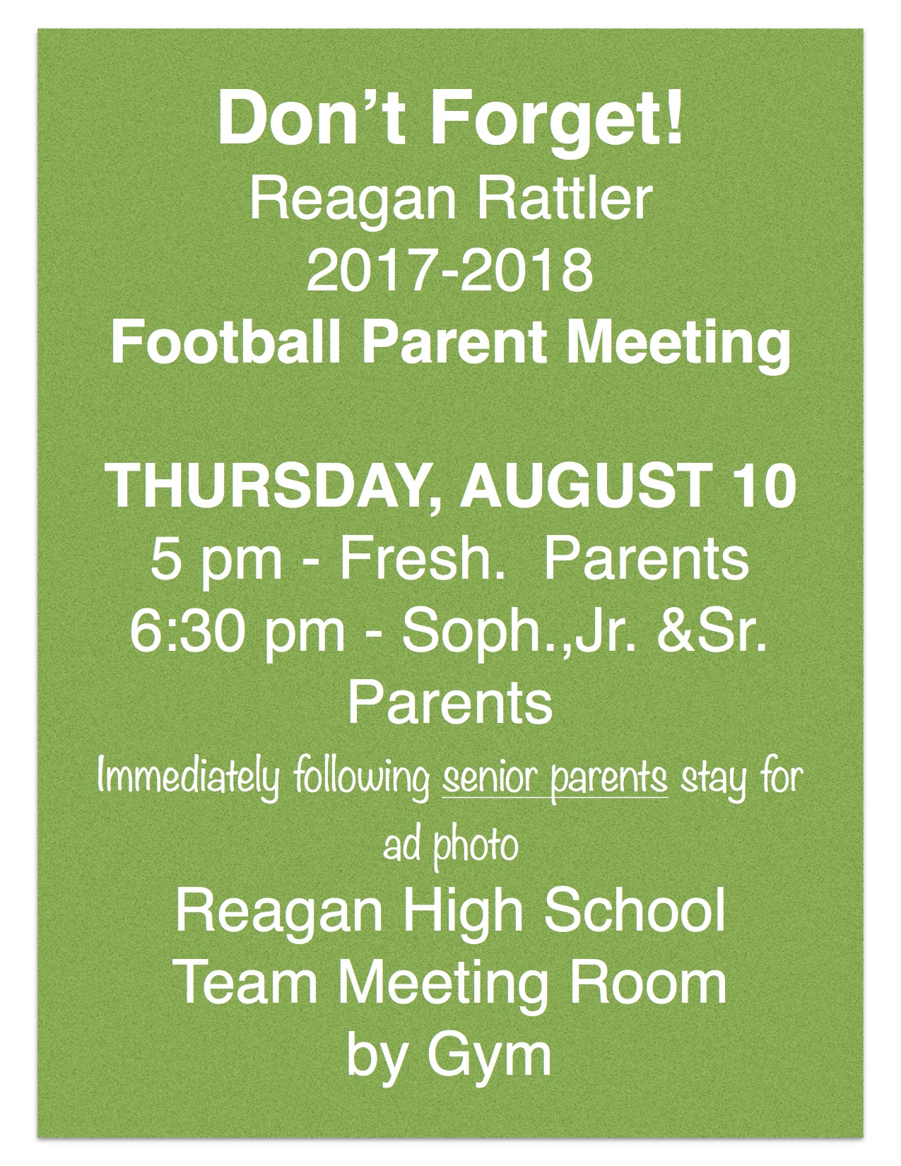 Parent Meeting - August