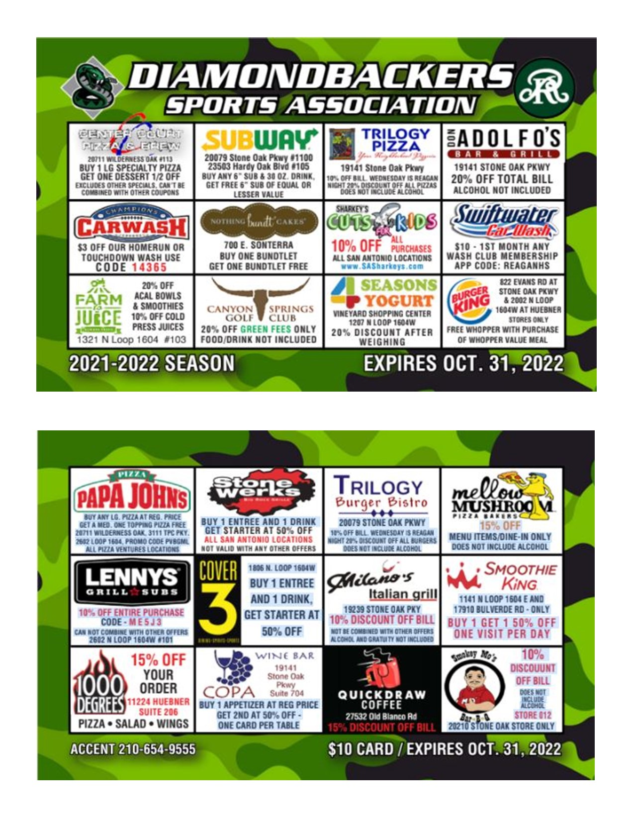 2021-2022 Discount Cards